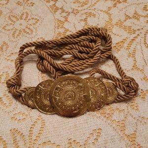 Vintage Gold Medallion Corded Rope Belt